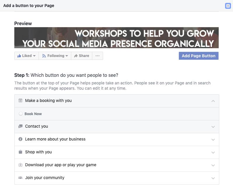 2.connect google calendar to facebook page click book now