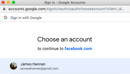 7.connect google calendar to facebook page choose account