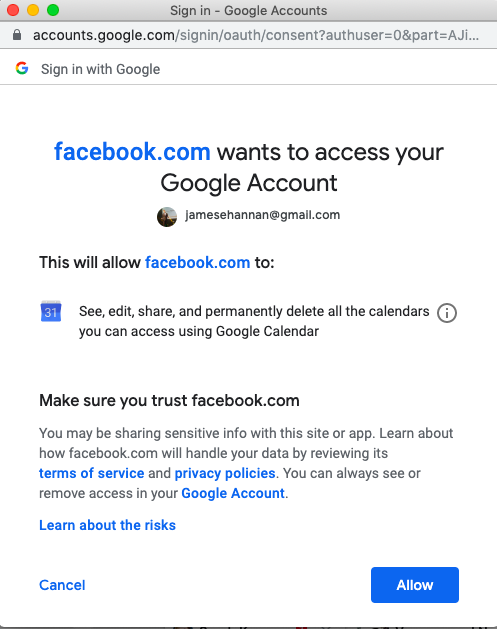 8.connect google calendar to facebook page click allow